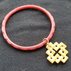 Bess Heitner Carved Cinnabar Bracelet Size Large